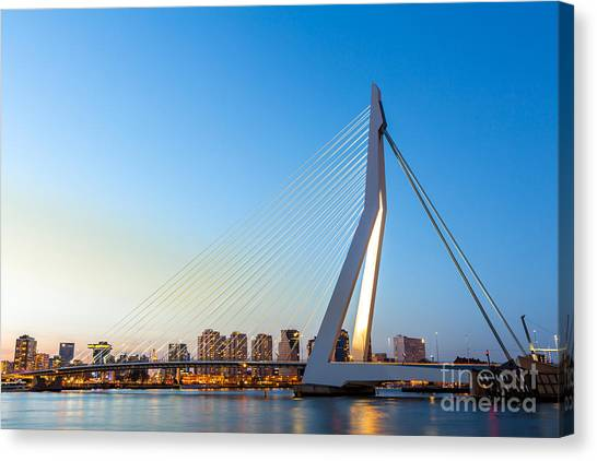 Swan Canvas Print - Erasmus Bridge Over The River Meuse In by Vichie81