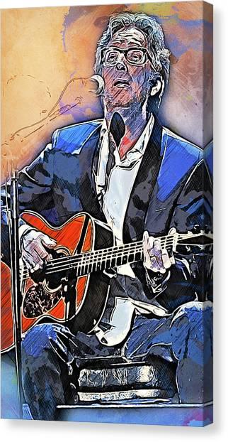 Eric Clapton - 15 Canvas Print by Andrea Mazzocchetti