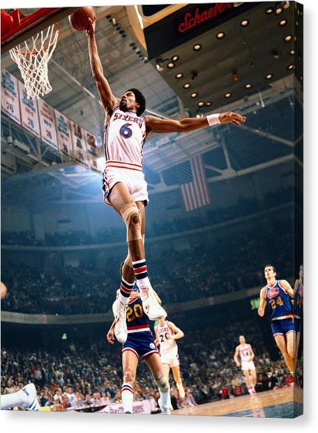Erving Goes For A Dunk Canvas Print