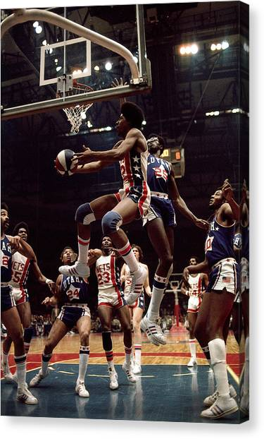 Erving Goes For A Layup Canvas Print
