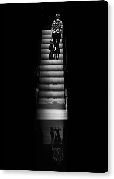 Canvas Print featuring the photograph Escalator No 2 by Brian Carson