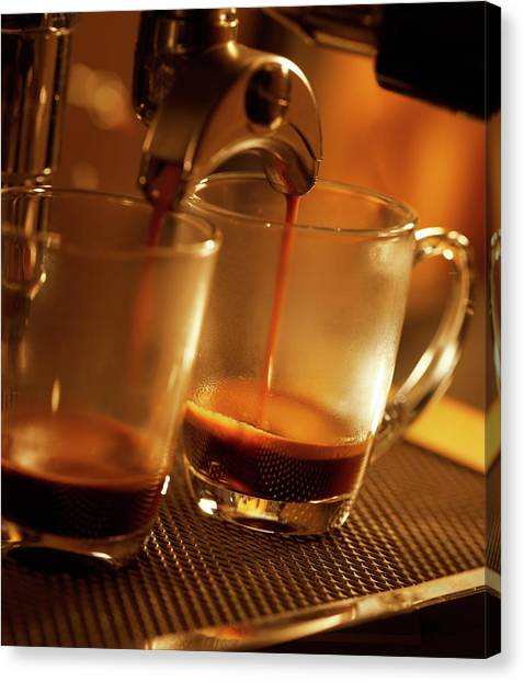 Espresso Coffee Pouring In Two Cups Canvas Print