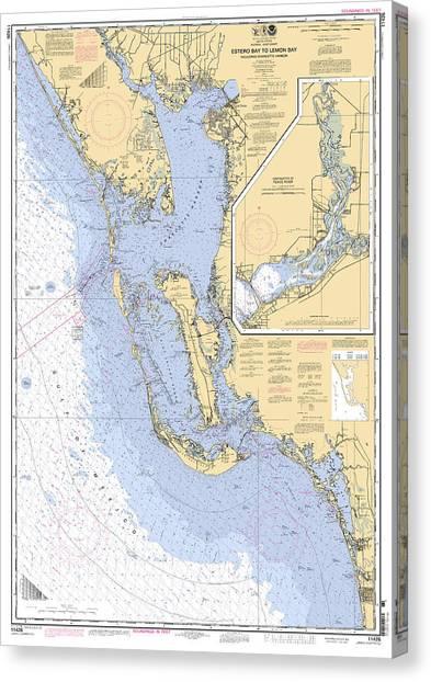 Estero Bay To Lemon Bay, Noaa Chart 11426 Canvas Print