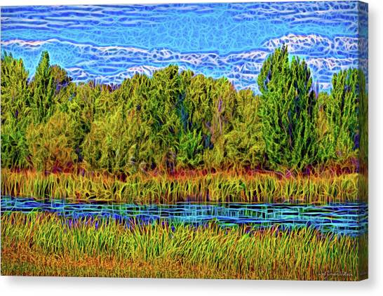 Canvas Print featuring the digital art Eternal Lake Day by Joel Bruce Wallach