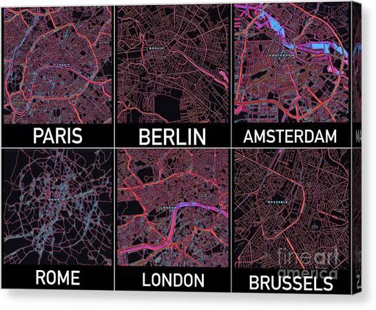 European Capital Cities Maps Canvas Print