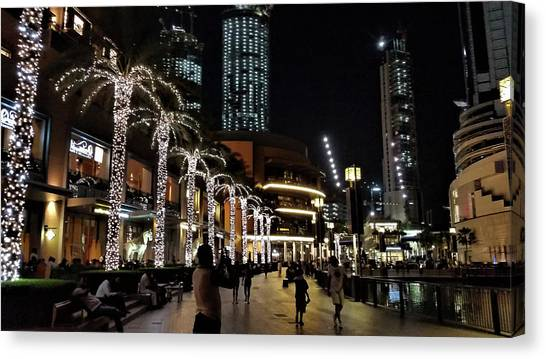 Evening At Dubai Maill, Dubai, United Arab Emirates Canvas Print