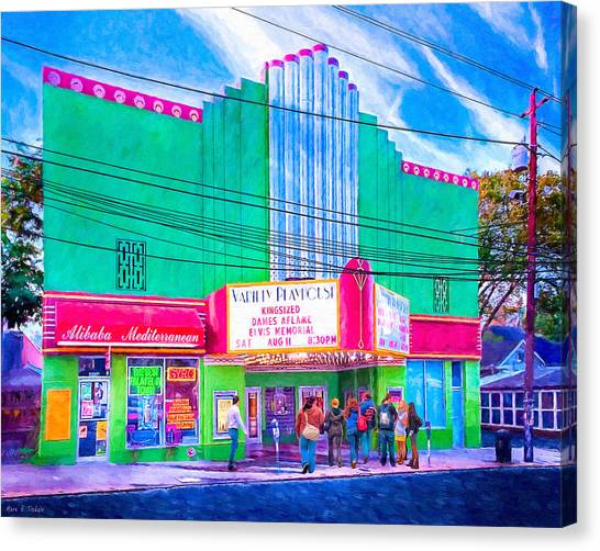 Canvas Print featuring the photograph Evening At The Variety Playhouse - Atlanta by Mark E Tisdale