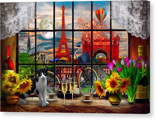 Canvas Print - Evening In Paris by Debra and Dave Vanderlaan