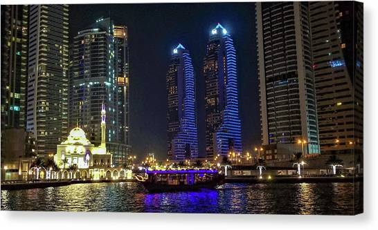 Evening Waterfront Scene, Dubai Marina, Dubai, United Arab Emirates Canvas Print