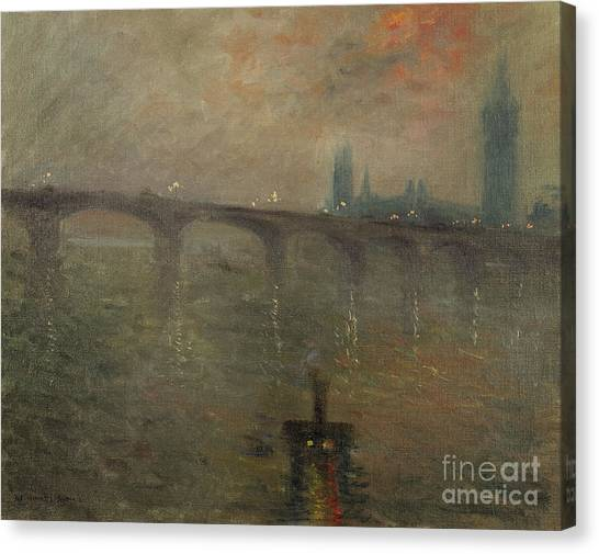 Murky Canvas Print - Evening, Westminster From Waterloo Bridge by Jacques-Emile Blanche