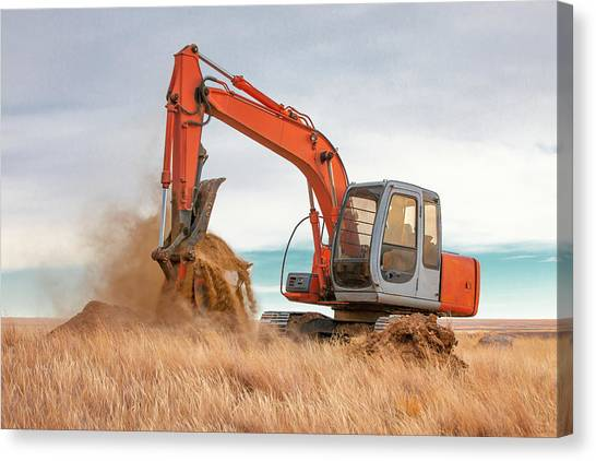 Excavators Canvas Print - Excavator Working by Todd Klassy