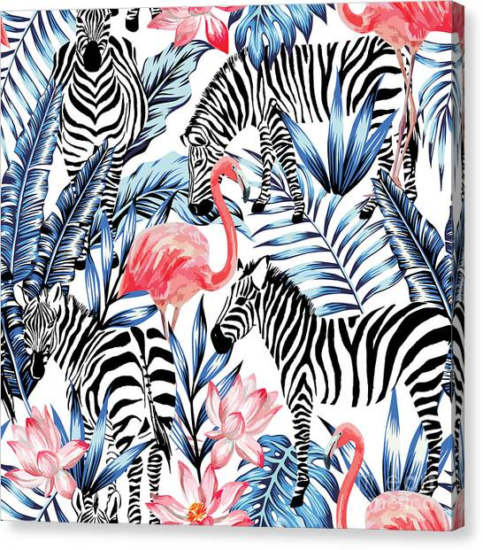 Exotic Pink Flamingo, Zebra On Canvas Print by Berry2046