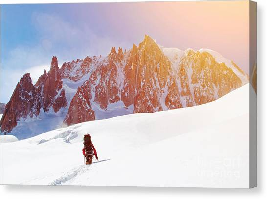 Rope Canvas Print - Extreme Sport. Lone Hikers In Winter by Vixit