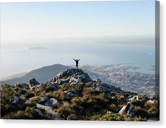 Exuberant Man On Top Of Table Mountain Canvas Print by David Malan