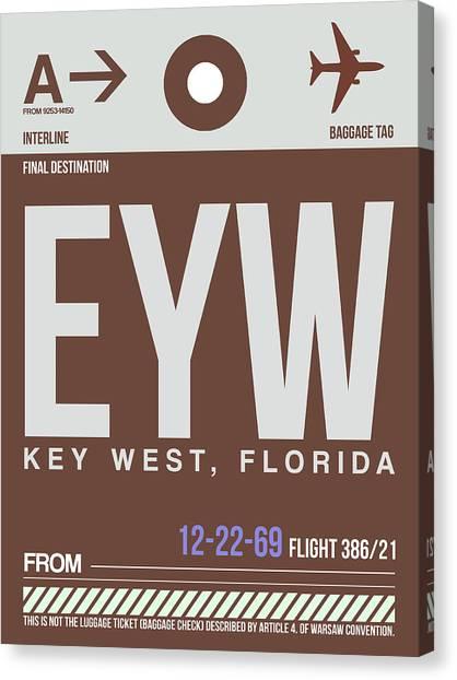 West Canvas Print - Eyw Key West Luggage Tag II by Naxart Studio