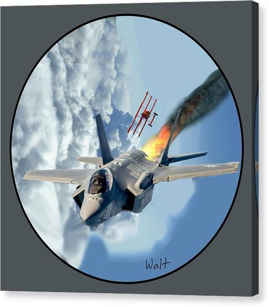 F-35 Vs The Red Baron Canvas Print