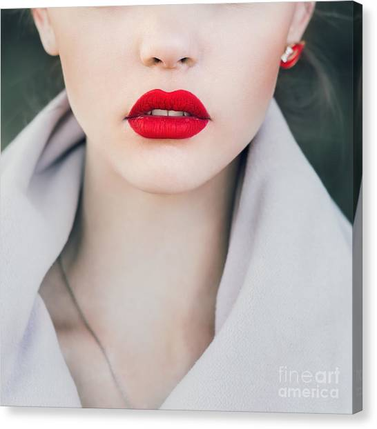 Open Canvas Print - Face Of A Beautiful Girl With Red Lips by Aleshyn andrei