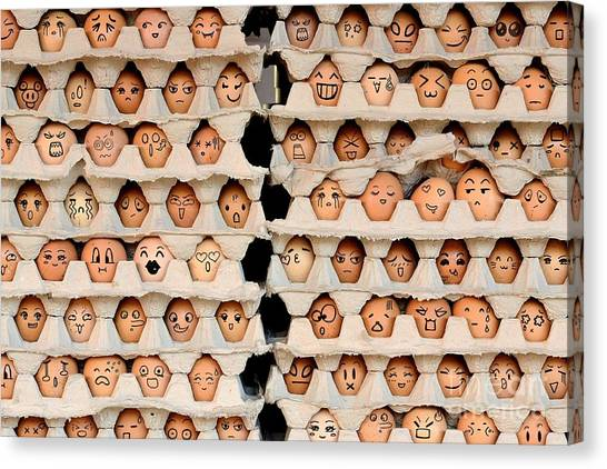 Happiness Canvas Print - Faces On The Eggs. Differences Faces by Kemal Taner