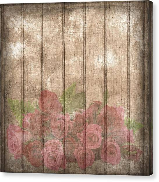Faded Red Country Roses On Wood Canvas Print