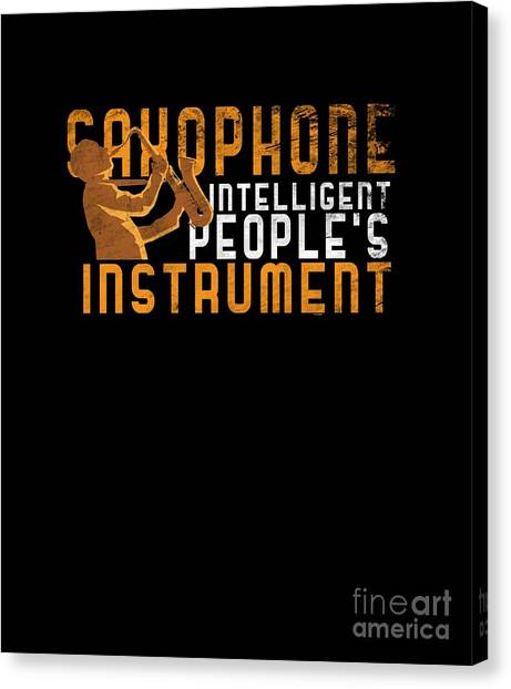 Canvas Print - Faded Style Aerophone Musicians Saxophone Intelligent Peoples Instrument Gift by Thomas Larch