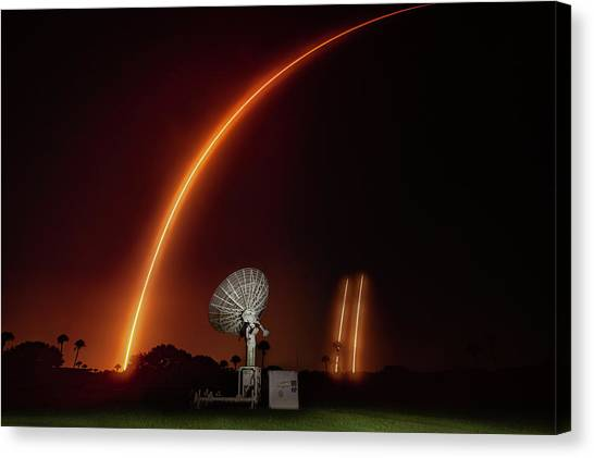 Falcon Heavy Night Launch And Landing Canvas Print