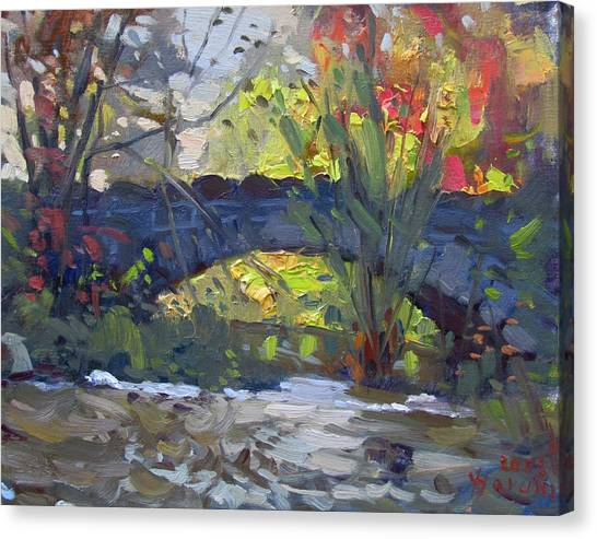 Goat Canvas Print - Fall At Stone Bridge In Goat Island by Ylli Haruni