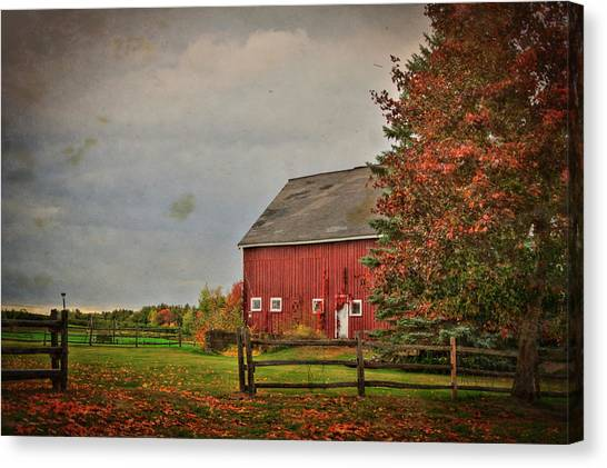 Canvas Print featuring the photograph Fall Foliage And Red Barm by Joann Vitali