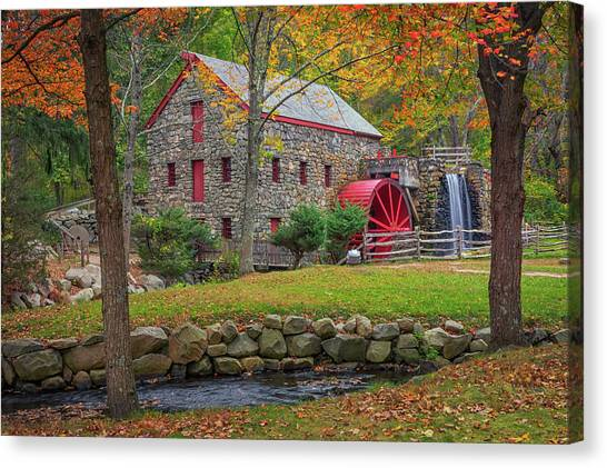 Fall Foliage At The Grist Mill Canvas Print