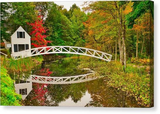 Fall Footbridge Reflection Canvas Print