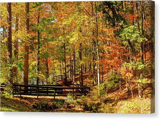 Fall Hike At Mirror Lake Canvas Print