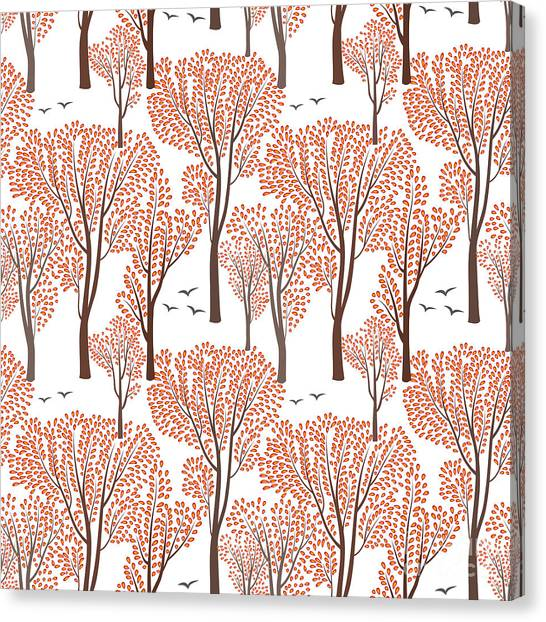 Set Design Canvas Print - Fall Nature Wildlife Seamless Pattern by Yoko Design