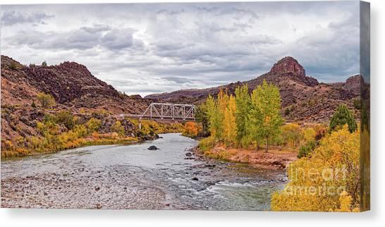 Rio Grande River Canvas Print - Fall Panorama Of Rio Grande Del Norte At Orilla Verde And Taos Canyon - New Mexico Desert Southwest by Silvio Ligutti