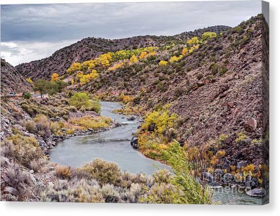 Rio Grande River Canvas Print - Fall Scene At Rio Grande Del Norte Near Embudo - Rio Arriba County New Mexico Land Of Enchantment by Silvio Ligutti