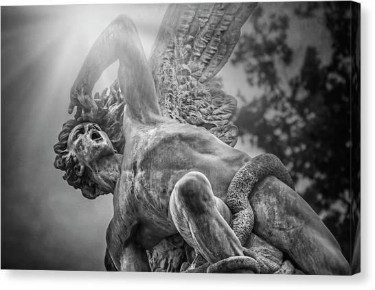 Madrid Canvas Print - Fallen Angel Retiro Park Madrid Black And White  by Carol Japp