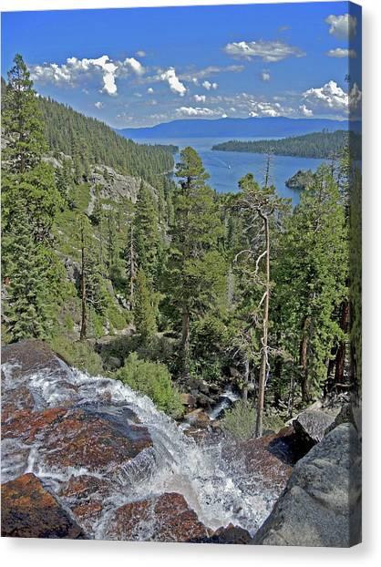 Canvas Print featuring the photograph Falls Above Emerald Cove by Lynda Lehmann