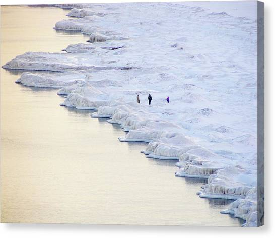 Family By Frozen Lake Canvas Print