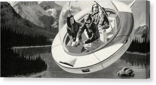 Family In Flying Saucer Canvas Print
