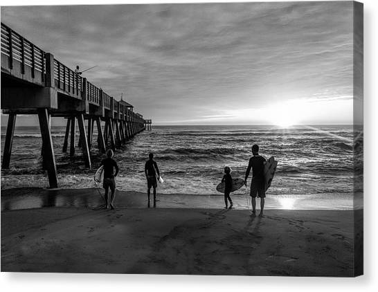Canvas Print - Family Surfing In Black And White by Debra and Dave Vanderlaan