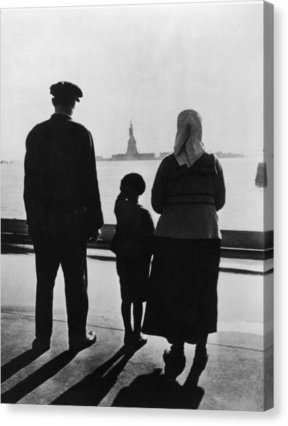 Casual Canvas Print - Family Views Statue Of Liberty From by Fpg