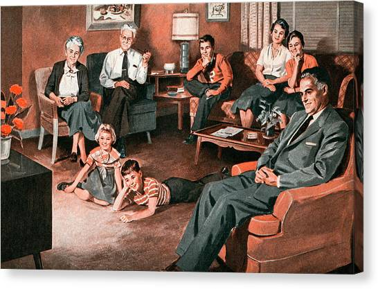 Family Watching Television Canvas Print