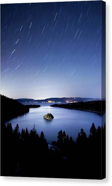 Fannette Island Is Illuminated At Night Canvas Print
