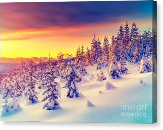 Hoarfrost Canvas Print - Fantastic Evening Landscape Glowing By by Creative Travel Projects