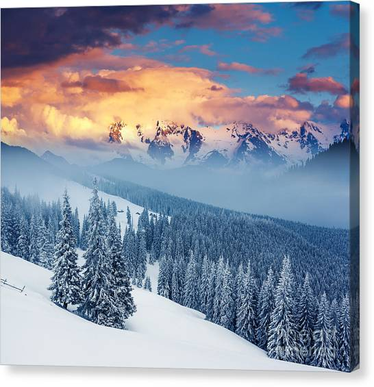 Hoarfrost Canvas Print - Fantastic Winter Landscape. Dramatic by Creative Travel Projects