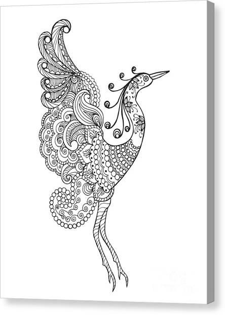 Cute Bird Canvas Print - Fantasy Bird. Black White Hand Drawn by Palomita