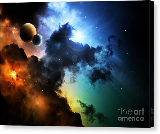 Sun Canvas Print - Fantasy Deep Space Nebula With Planet by Homeart