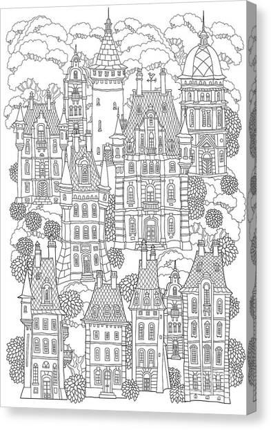 Shrub Canvas Print - Fantasy Landscape. Fairy Tale Castle by L. Kramer