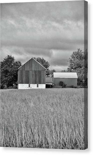 Canvas Print - Farm - Bucks County Pennsylvania In Black And White by Bill Cannon