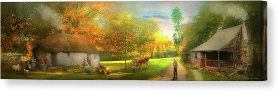 Canvas Print featuring the photograph Farm - End Of A Long Day by Mike Savad - Abbie Shores