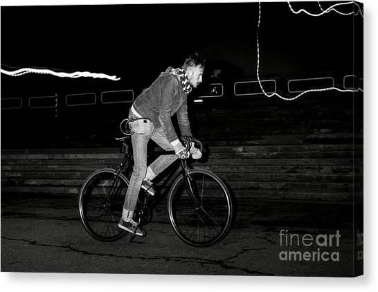 Fashion Man On The Fixed Gear Bike Canvas Print by Hrynevich Yury