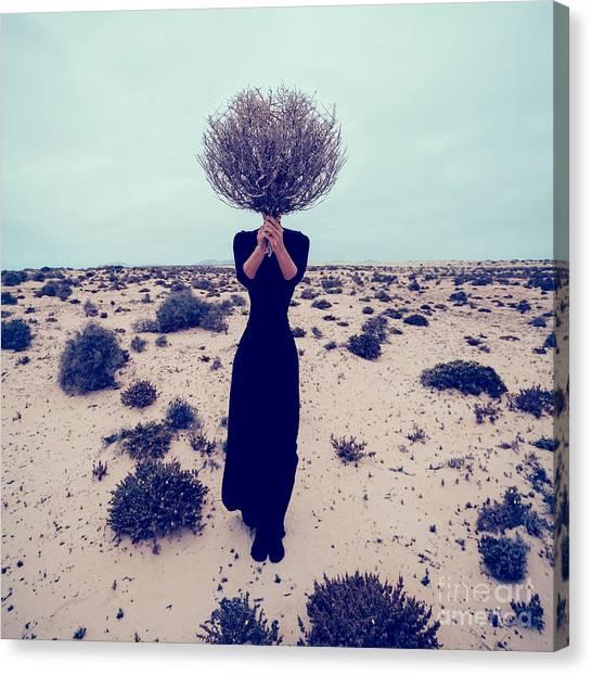 Dress Canvas Print - Fashion Photo. Girl In The Desert With by Evgeniya Porechenskaya